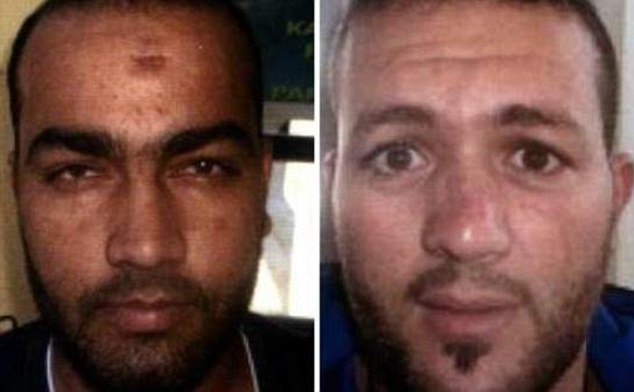 Muhammad Ghani Usman (left) and Adel Haddadi have been arrested at a refugee centre in Austria and are believed to be linked to terror groups and the suicide bombers who blew themselves up outside the Stade de France in Paris in November
