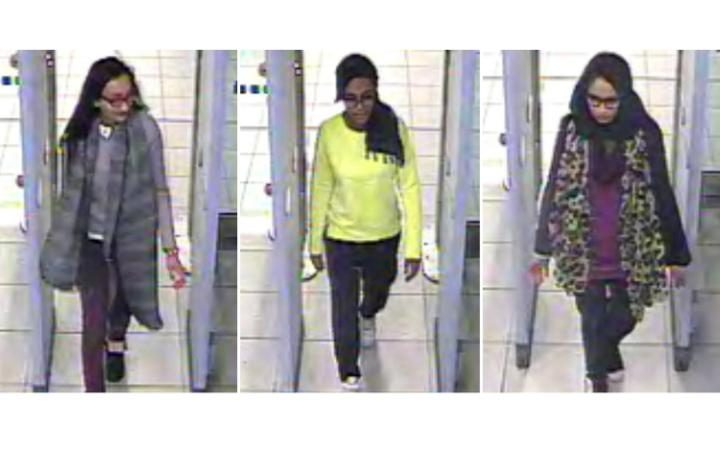 (L-R) British teenagers Kadiza Sultana, Amira Abase and Shamima Begum are believed to have left their schools in London to travel to Syria CREDIT: AFP