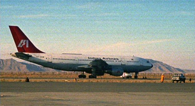 The hijacked Indian Airlines plane in Kandahar Airport on 26 December 1999
