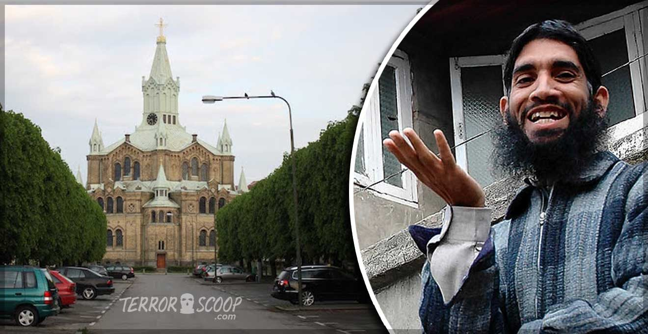 Sweden-Muslim-screaming-Allahu-akbar-smashes-up-Malmo-church,-desecrated-St.-Paul's-statue