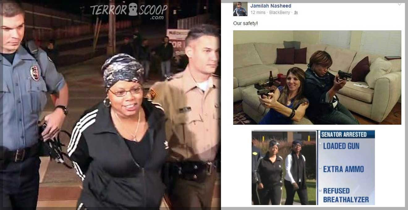 USA-Anti-Gun-Democrat-Black-Muslim-Senator-Jamilah-Nasheed-arrested-with-loaded-gun-and-extra-ammo-while-being-drunk-in-Ferguson