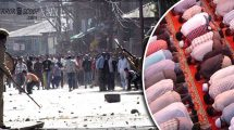 Violence-on-Eid-50-injured-after-Muslims-pelted-stones-after-Eid-prayers-in-Kashmir,-India