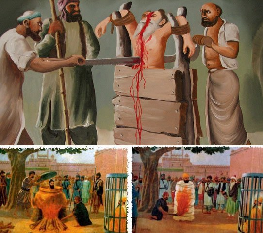 Sawed, Burned and Boiled Alive – Bhai Dayala, Bhai Mati Das and Bhai Sati Das.