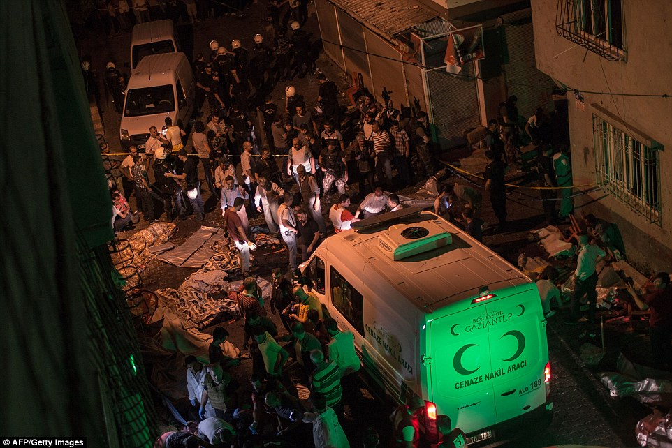 In Gaziantep, police sealed off the site of the explosion and forensic teams moved in. Hundreds of residents gathered near the site chanting 'Allah is great' as well as slogans denouncing terrorist attacks