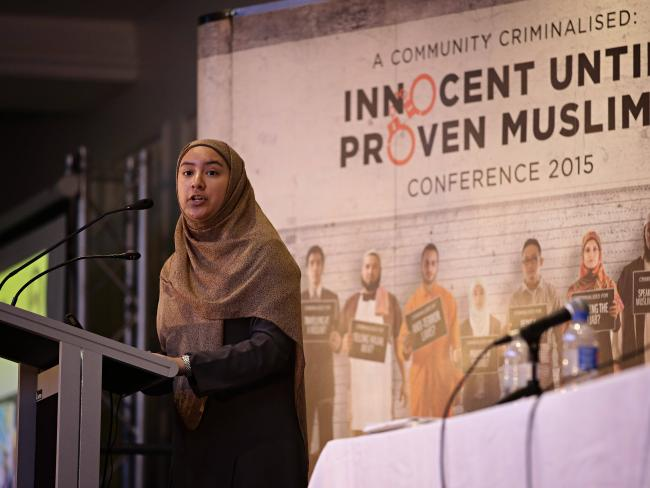 Olisyah Azis speaking at the Innocent Until Proven Muslim forum