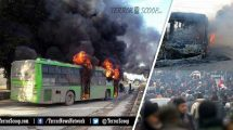 Jihadi-Islamists-Attack,-Burn-Buses-Intended-to-Evacuate-Aleppo-Civilians-in-Aleppo,-Syria