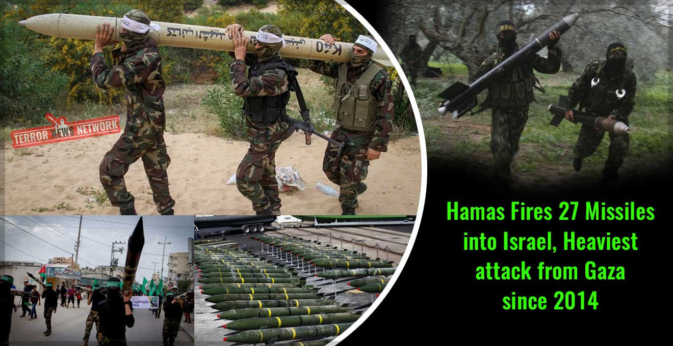 Hamas-Fires-27-Missiles-into-Israel,-Heaviest-attack-from-Gaza-since-2014
