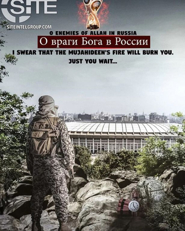 Another poster from the pro-ISIS group threatening the tournament (Image: SITE)