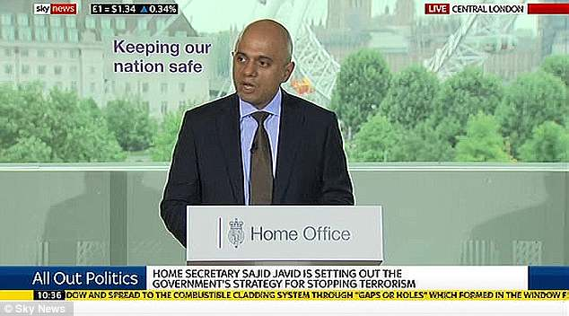 Muslim Home Secretary of UK, Sajid Javid will today announce a 'step-change' in the UK's counter-terrorism strategy which aims to prevent extremists bringing bloodshed to the streets
